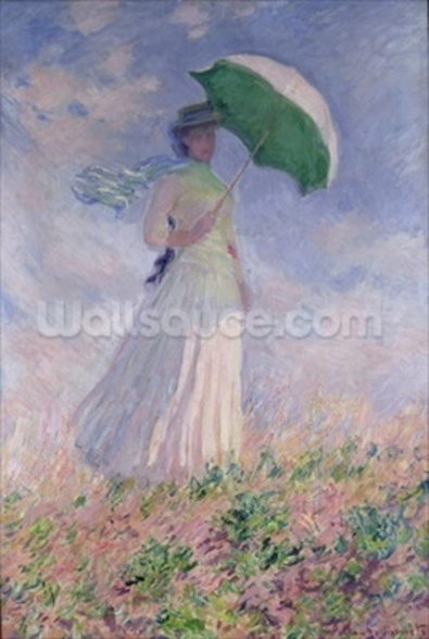 Woman with a Parasol turned to the Right, 1886 (oil on canvas) wall mural
