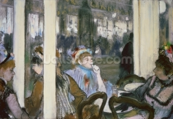 Women on a Cafe Terrace, 1877 (pastel on monotype) wall mural