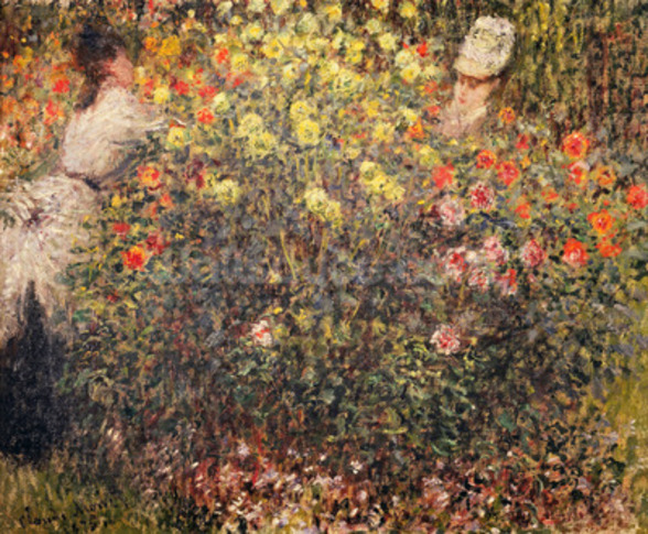 Women in the Flowers, 1875 (oil on canvas) wall mural