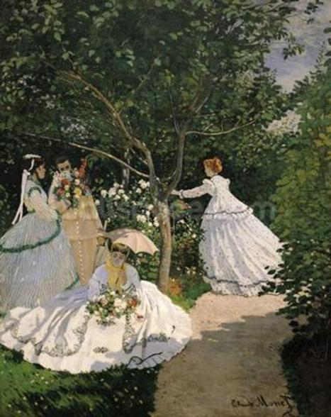 Women in the Garden, 1866 (oil on canvas) wallpaper mural
