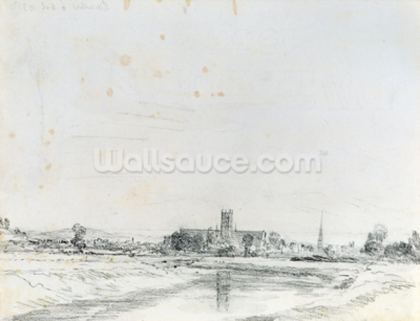 Worcester Cathedral from the South (pencil) wallpaper mural