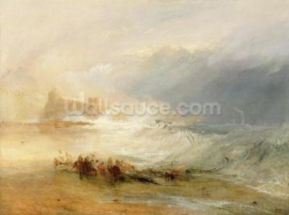Wreckers - Coast of Northumberland, With a Steam Boat Assisting a Ship off Shore, 1834 (oil on canvas) wallpaper mural