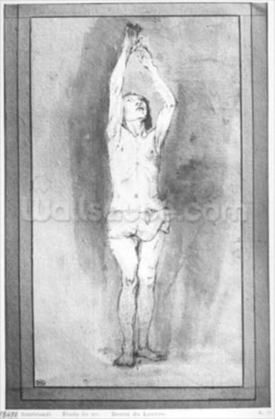Young boy with a loincloth, both hands hanged on a small bar (pen, brown ink & wash on paper) (b/w photo) mural wallpaper