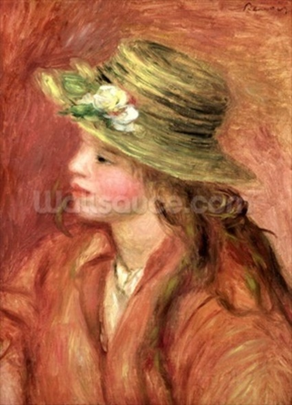 Young Girl in a Straw Hat, c.1908 (oil on canvas) wall mural
