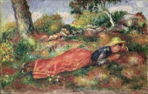 Young Girl Sleeping on the Grass (oil on canvas) wallpaper mural