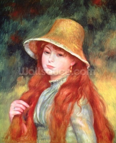 Young girl with long hair, or Young girl in a straw hat, 1884 mural wallpaper