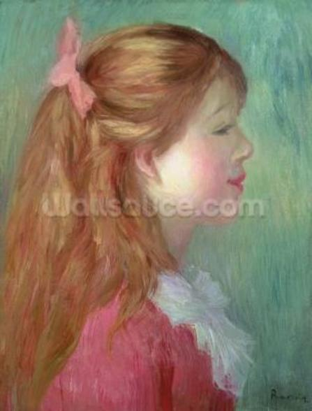 Young girl with Long hair in profile, 1890 wall mural