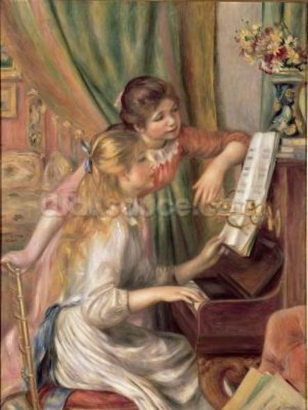 Young Girls at the Piano, 1892 (oil on canvas) mural wallpaper