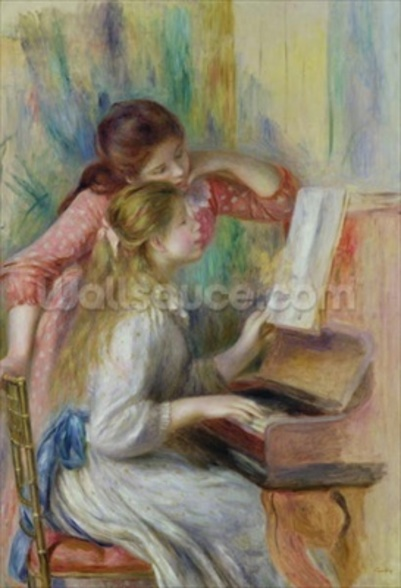 Young Girls at the Piano, c.1890 (oil on canvas) wall mural