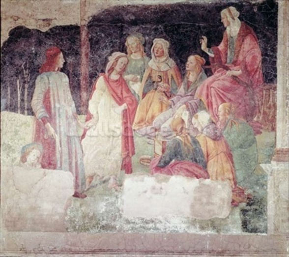 Young Man Greeted by Seven Liberal Arts, from the Villa Lemmi (fresco) wallpaper mural
