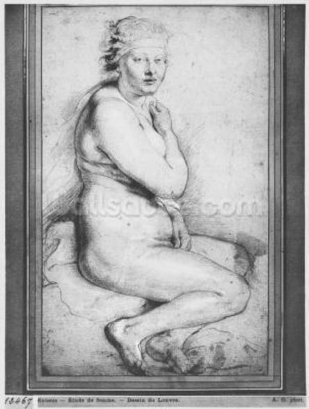Young nude woman, seated, turned to the right (pierre noire, red chalk, white highlights & brown wash on paper) wall mural