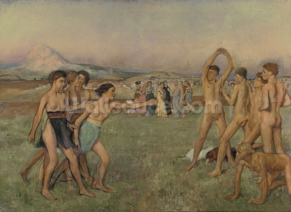 Young Spartans Exercising, c.1860 (oil on canvas) wallpaper mural