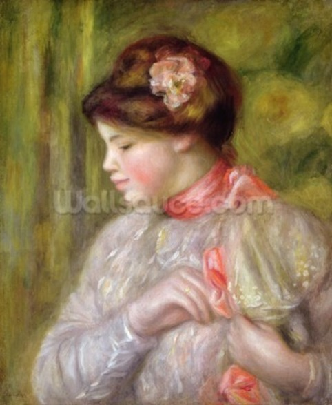 Young woman adjusting her blouse, 1900 wall mural