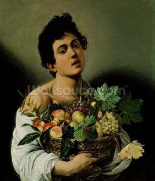Youth with a Basket of Fruit, 1594 (oil on canvas) (detail of 104940) wallpaper mural