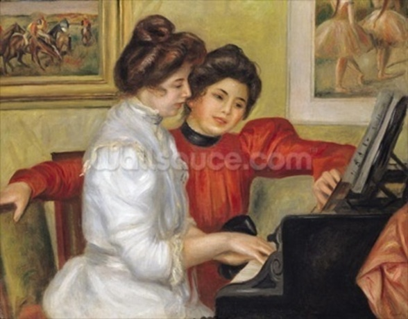 Yvonne and Christine Lerolle at the piano, 1897 (oil on canvas) wall mural