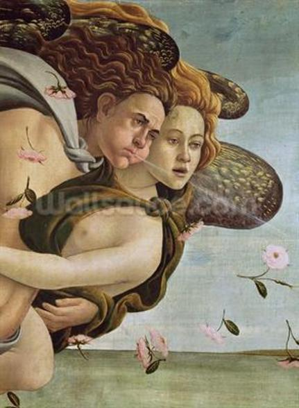 Zephyr and Chloris, detail from The Birth of Venus, c.1485 (tempera on canvas) (see 412 and 85293) wallpaper mural