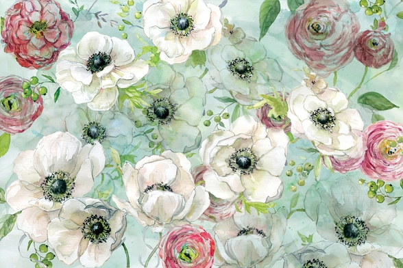 Anemonies and Ranunculus mural wallpaper
