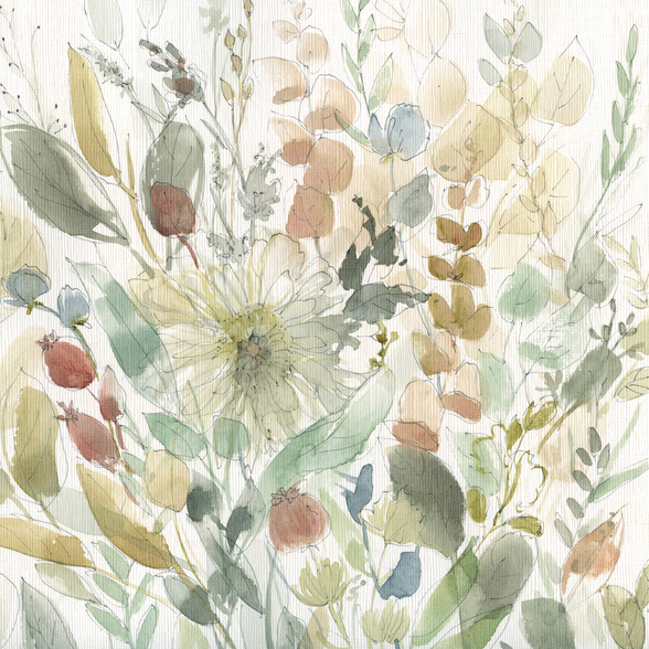 Linen Wildflower mural wallpaper