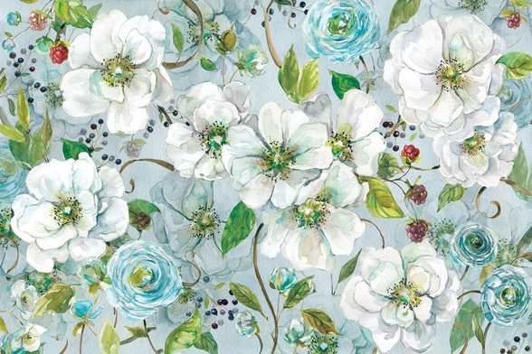 White Rose and Ranunculus mural wallpaper