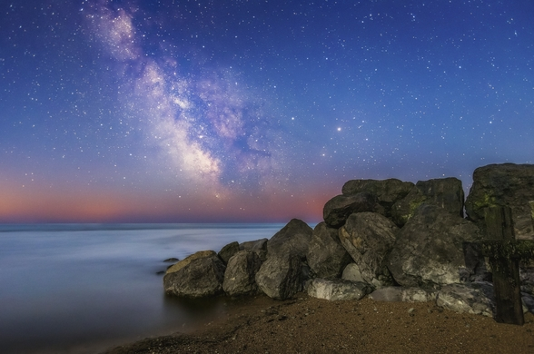 The Milky Way during astronomical twilight mural wallpaper