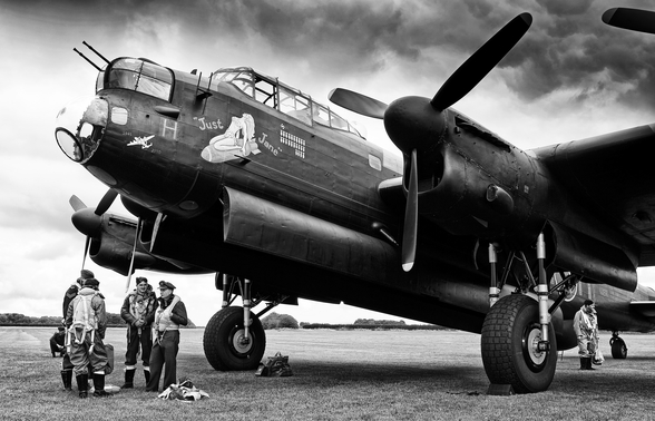 Avro Lancaster and crew mural wallpaper