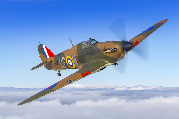 Battle of Britain Hurricane Above the Clouds mural wallpaper