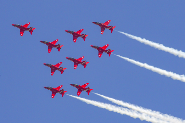 The Red Arrows aerobatic team formation wall mural