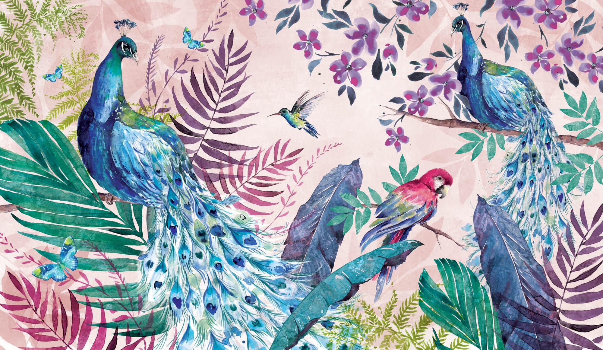 Tropical Peacock Wall Mural By Di Brookes
