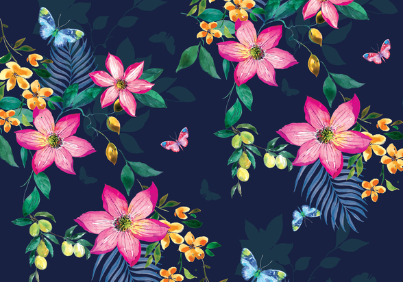 Tropical Flowers on Navy mural wallpaper