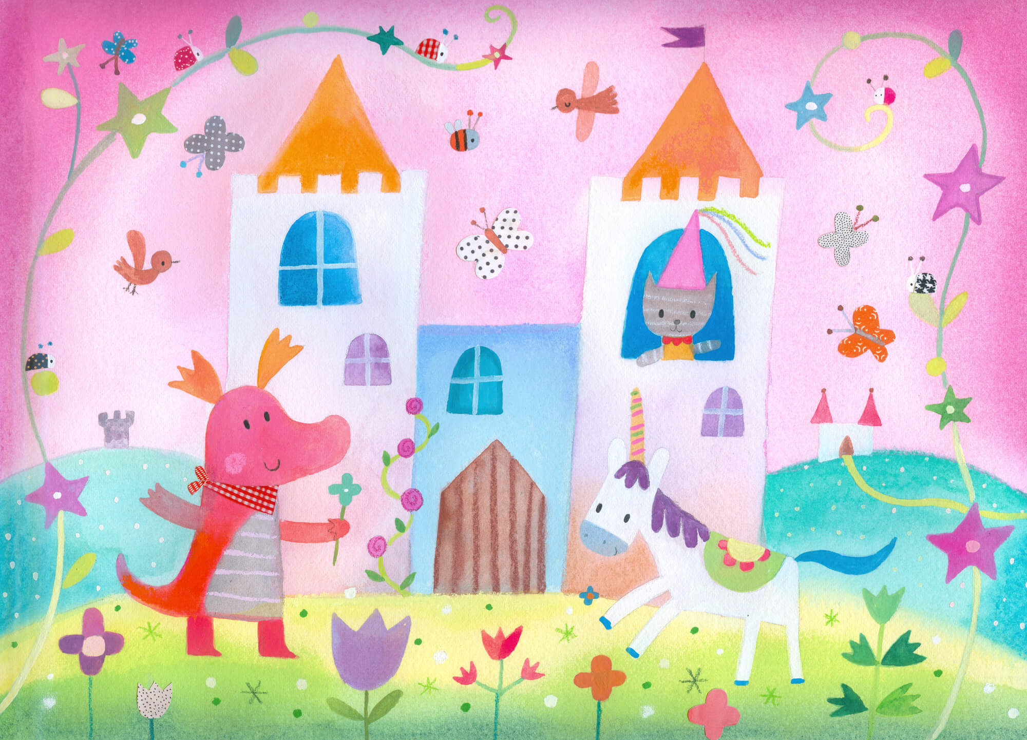 Fairy castle wall mural wallpaper wallsauce canada for Fairy castle mural