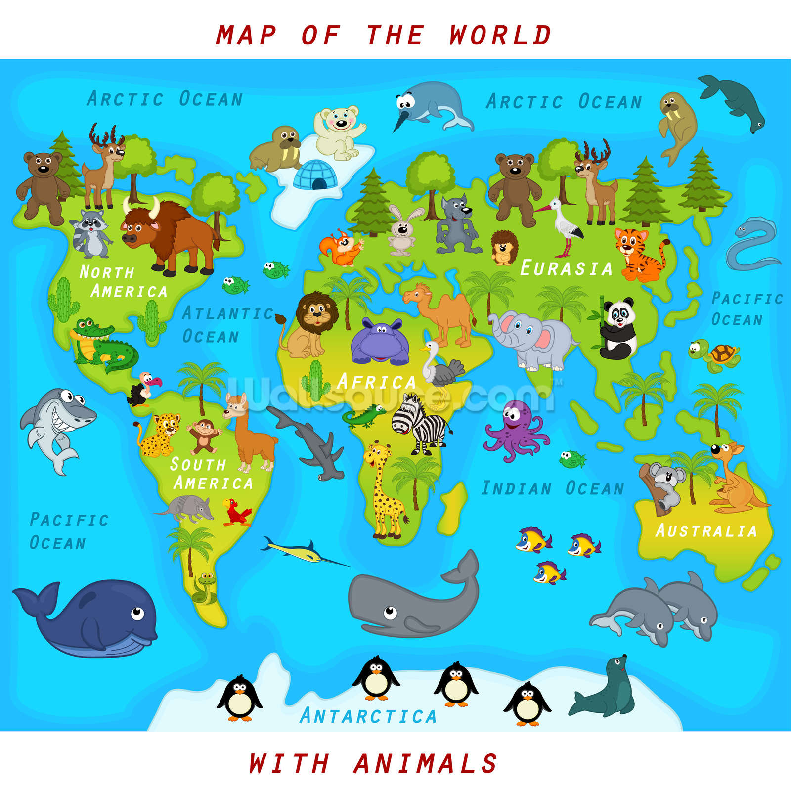 Map Of The World With Animals Wallpaper Mural Wallsauce Ca