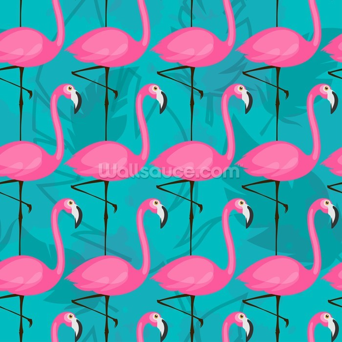 Bright Pink Flamingos Wallpaper Mural