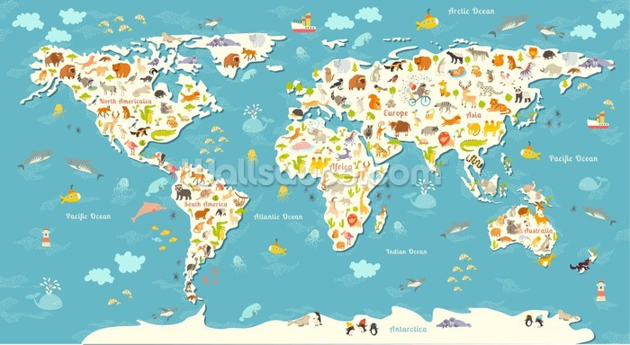 Animals World Map Wallpaper Mural Wallsauce Au