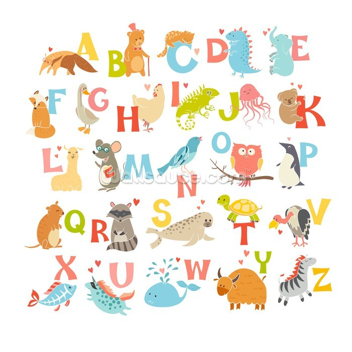 Cute zoo alphabet wallpaper wall mural wallsauce usa for Alphabet wall mural
