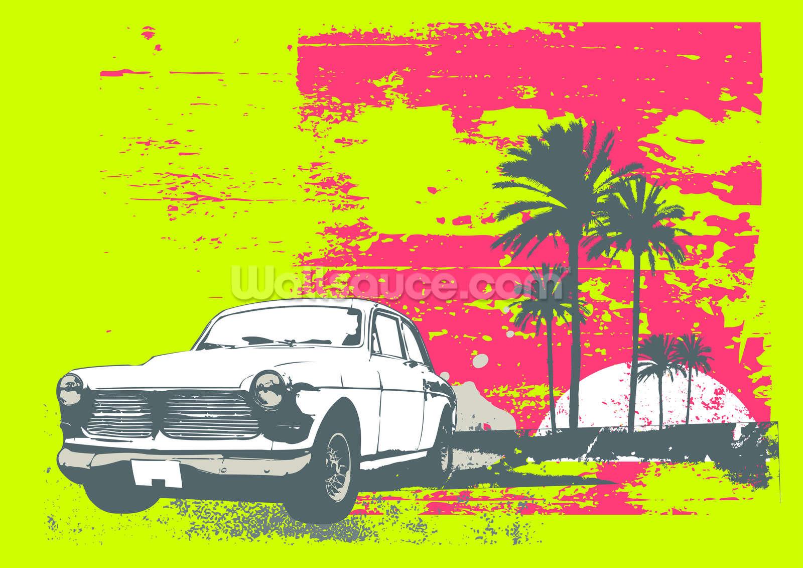 Retro car wallpaper wall mural wallsauce for Car mural wallpaper
