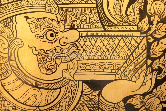 Thai Design Wallpaper : Traditional thai style painting wall mural