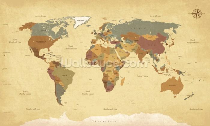 Textured Vintage World Map