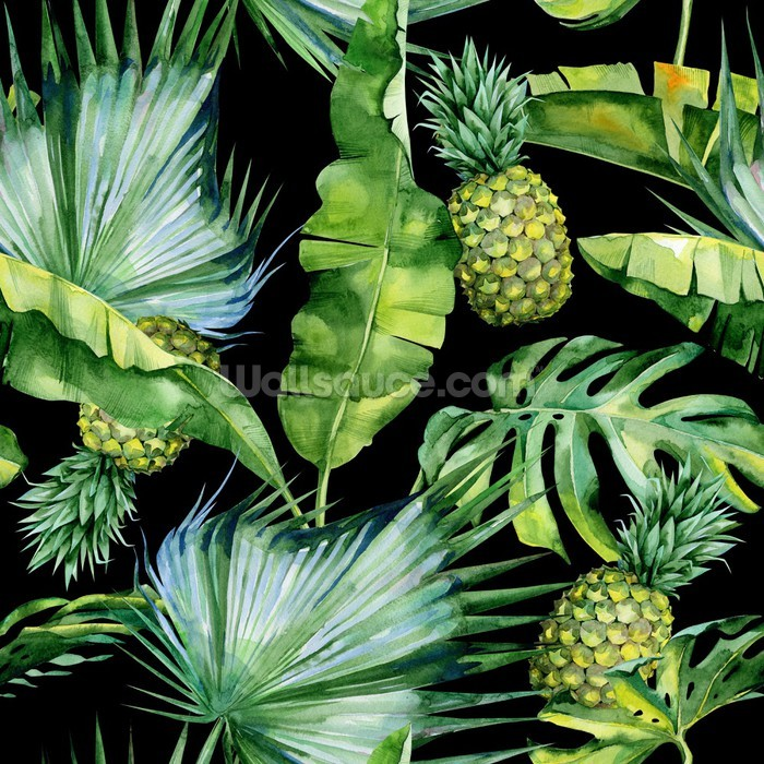 Palm Leaf Jungle Wallpaper With Pineapple Print