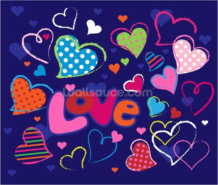 Cute Love Doodles Wallpaper Mural | Wallsauce UK