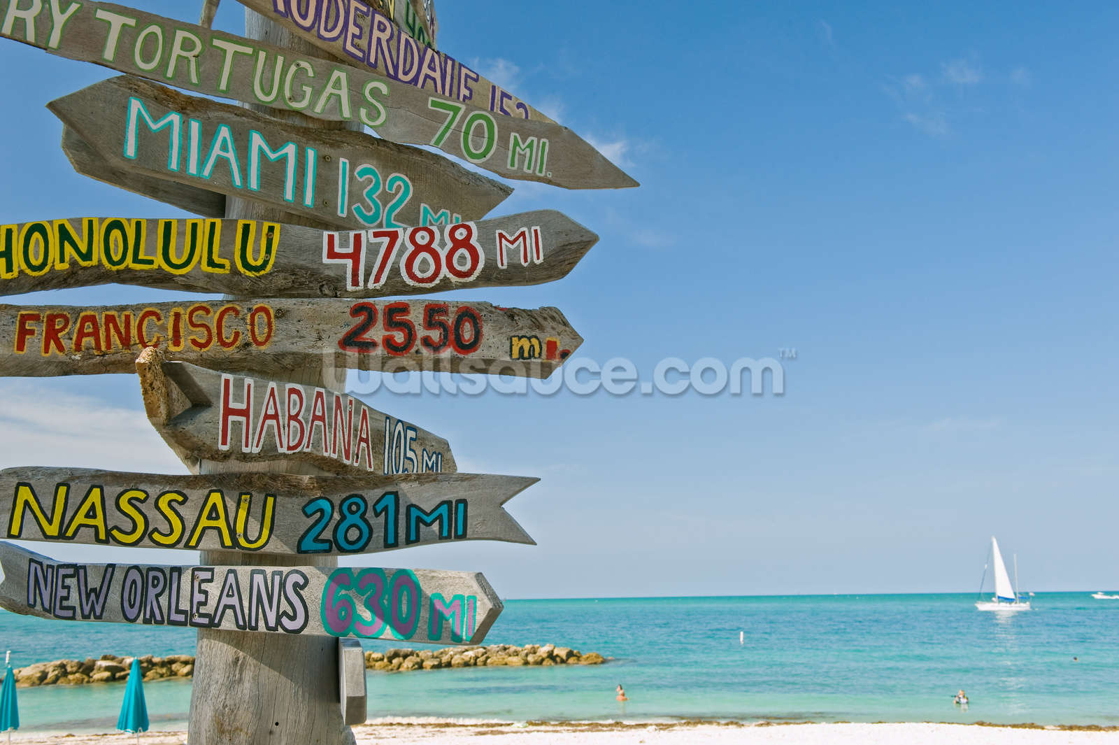 Key West Signpost Wall Mural Photo Wallpaper