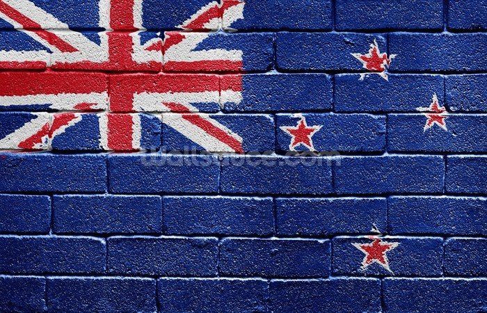 New Zealand Flag On Brick Wall Wallpaper Mural Wallsauce Nz