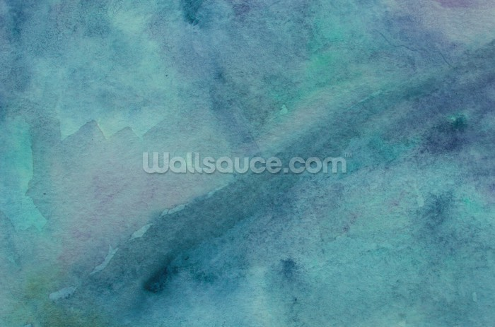 Abstract turquoise watercolor wallpaper mural