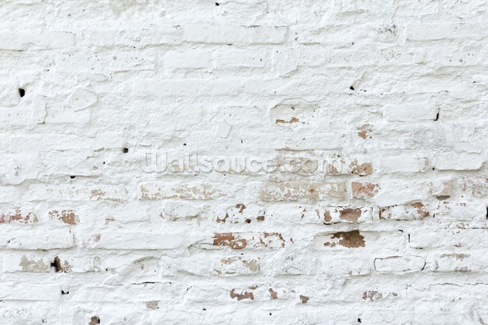 Distressed white brick wallpaper wall mural wallsauce for Distressed brick wall mural
