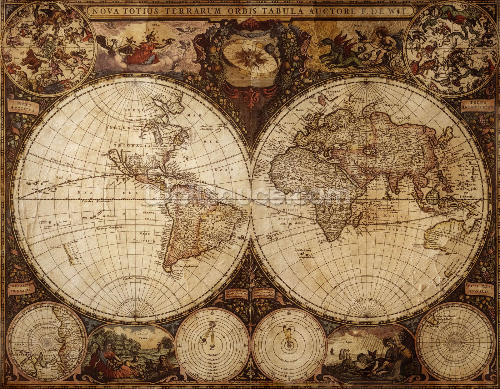 Old World Map Mural.Vintage World Map Wallpaper Mural Wallsauce Fi