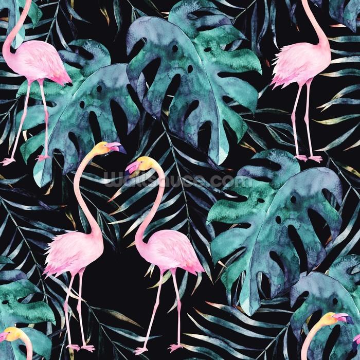 Jungle Print Flamingo Wallpaper Wall Mural