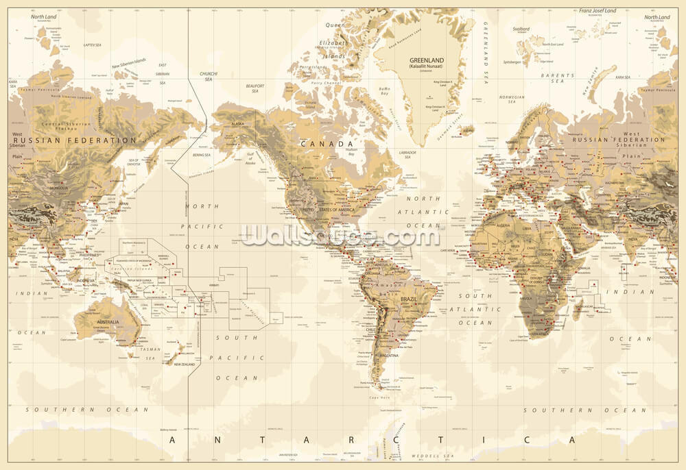 Vintage physical world map america centered wallpaper mural save your design for later gumiabroncs Choice Image