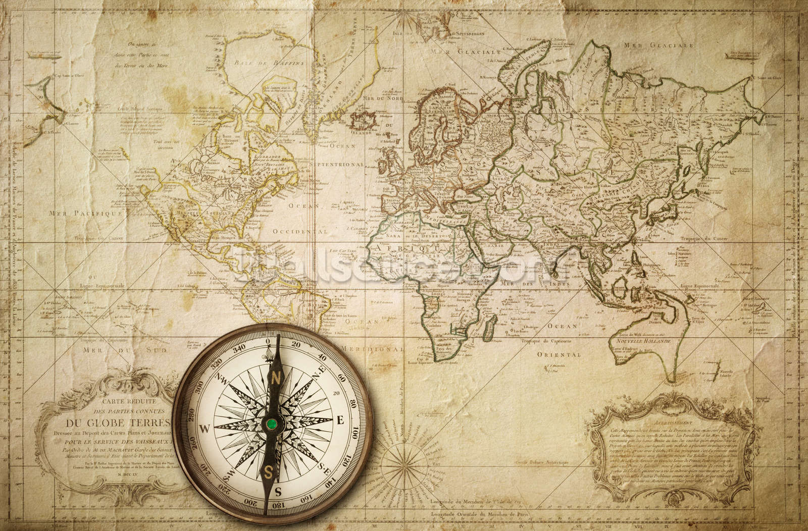 Old Map Amp Compass Wallpaper Mural Wallsauce Us