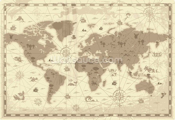Ancient world map wallpaper wallsauce usa ancient world map wallpaper mural gumiabroncs Gallery