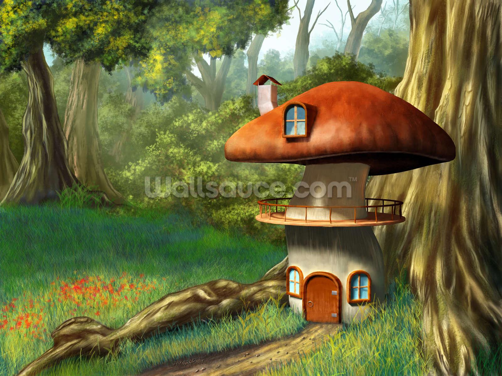 Mushroom House Wallpaper Wall Mural Wallsauce Uk