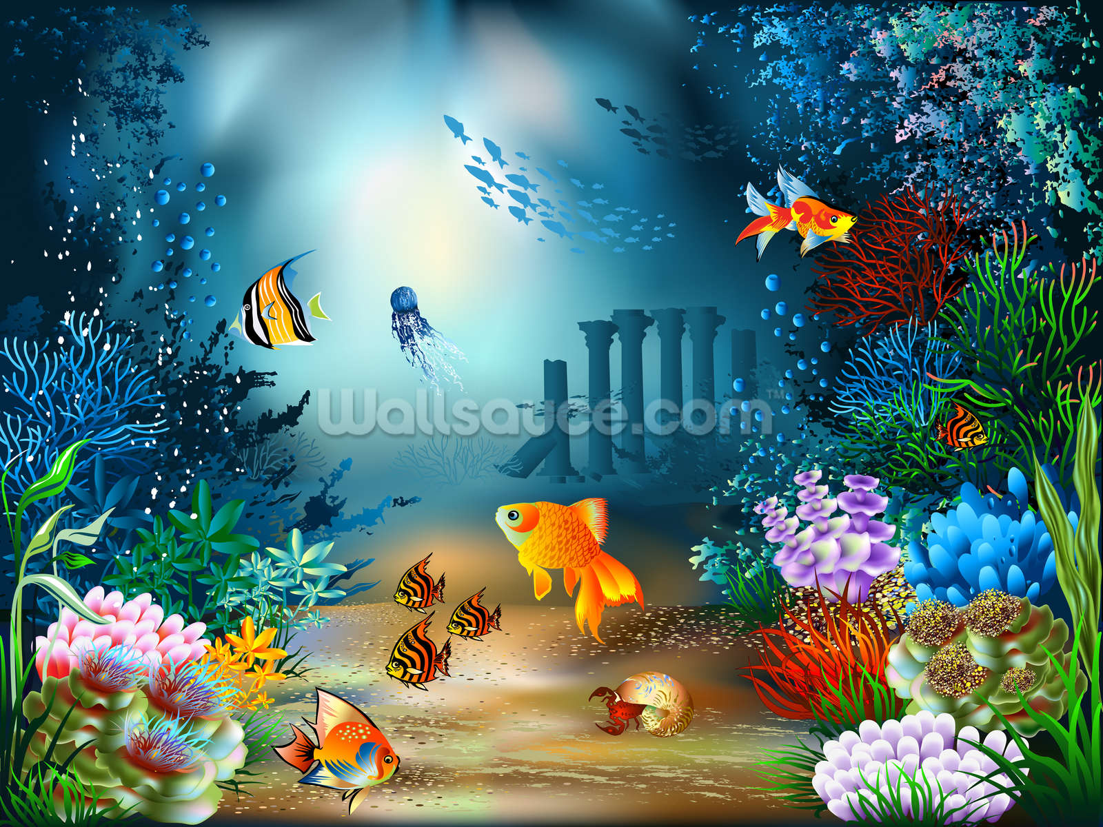 Underwater world wallpaper wall mural wallsauce usa for Mural wallpaper